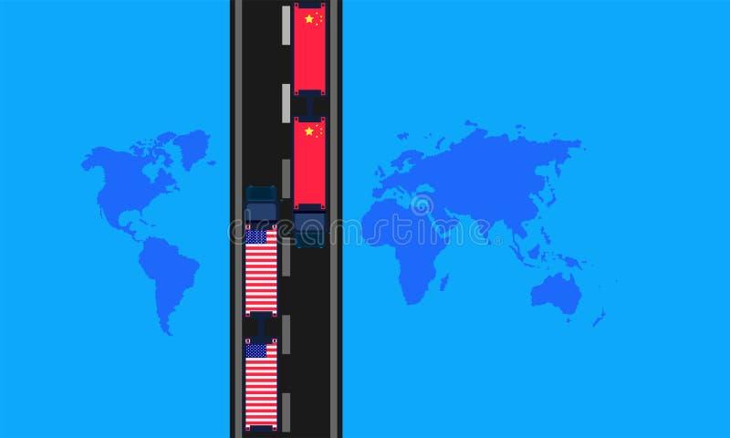 Handelsoorlog de vrachtwagen vervoerden bijbehorende de wereldkaart van de bedrijffabriek Vector illustratie EPS10 stock illustratie