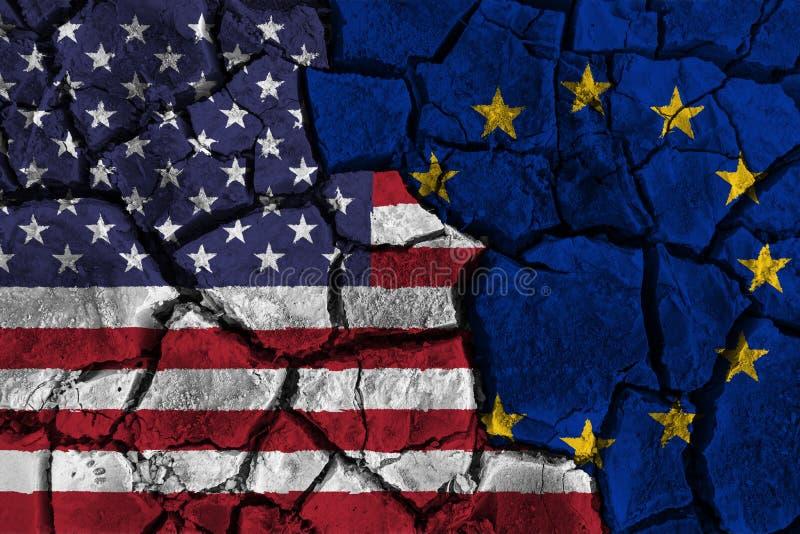 Handelsoorlog tussen de Verenigde Staten van Amerika tegenover Europa vlag op gebarsten muurachtergrond Confliction en crisisconc vector illustratie