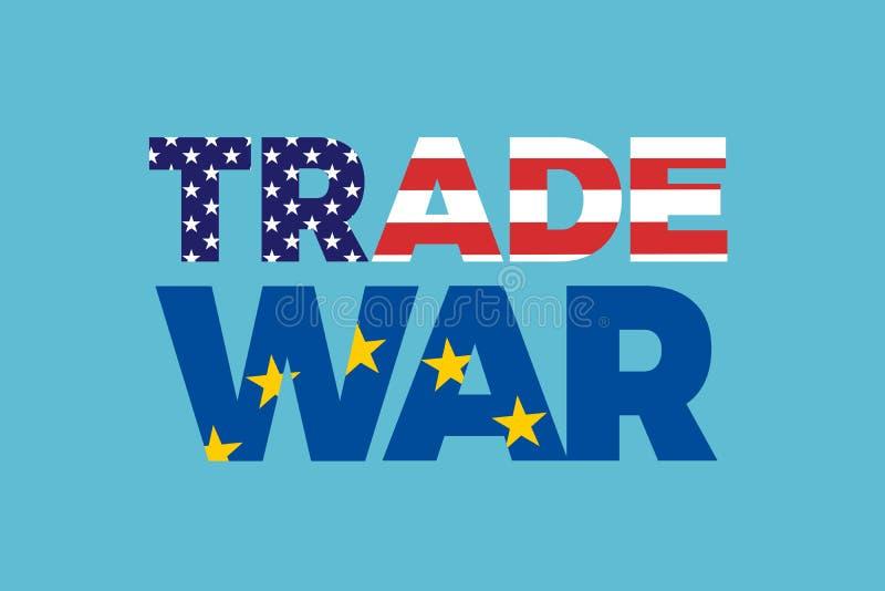 Handelsoorlog tussen Europese Unie en de Verenigde Staten van Amerika royalty-vrije illustratie