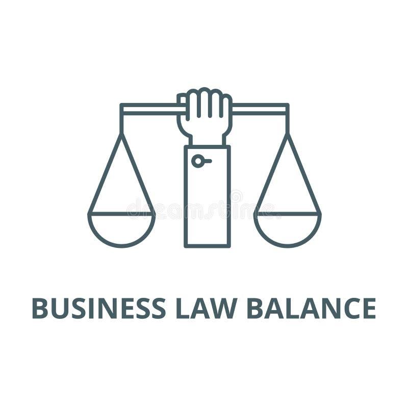 Handelsrecht-Symmetrielinie Ikone, Vektor Handelsrecht-Balancenentwurfszeichen, Konzeptsymbol, flache Illustration vektor abbildung