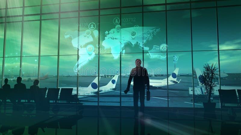 Handelsreiziger bij de luchthaven stock illustratie