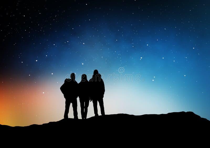 Handelsresande eller vänner på kanten över natthimmel stock illustrationer