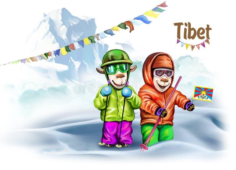 Handelsresande i Tibet vektor illustrationer