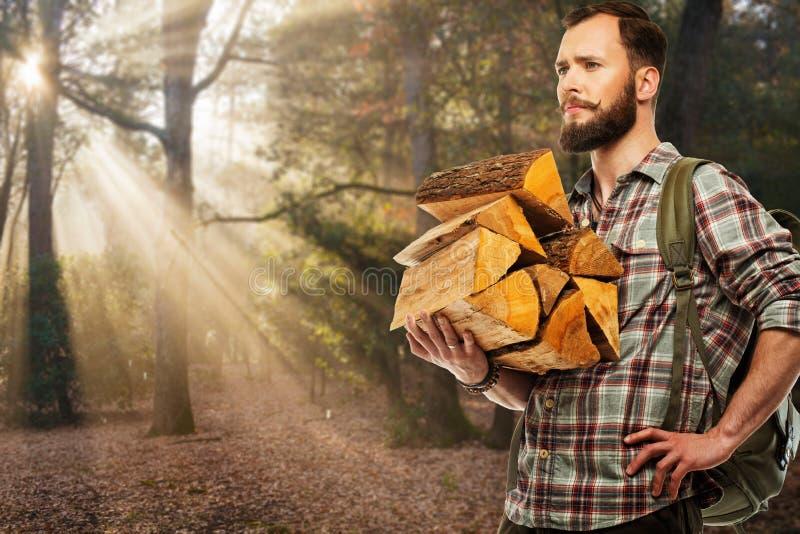 Handelsresande med ryggsäcken i höstlig skog royaltyfri fotografi