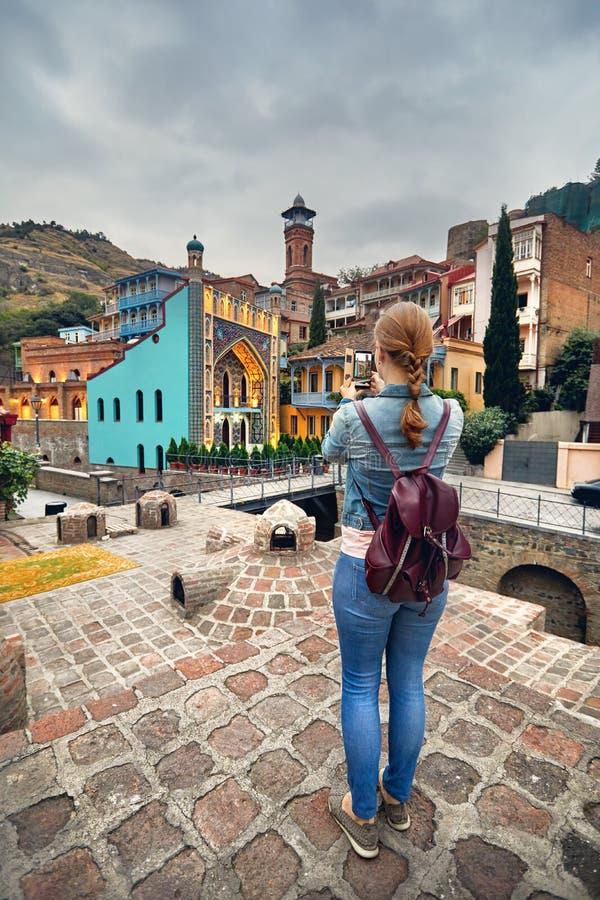 Handelsresande på svavelbadområdet av Tbilisi arkivfoto