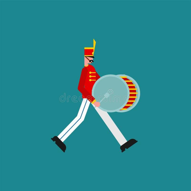 Handelsresande Soldier och stor vals Soldat med musikinstrumentet Militär musikband stock illustrationer