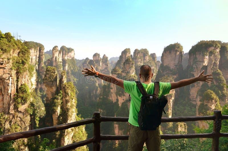 Handelsresande som tycker om den fantastiska siktsZhangjiajie nationalparken royaltyfri foto