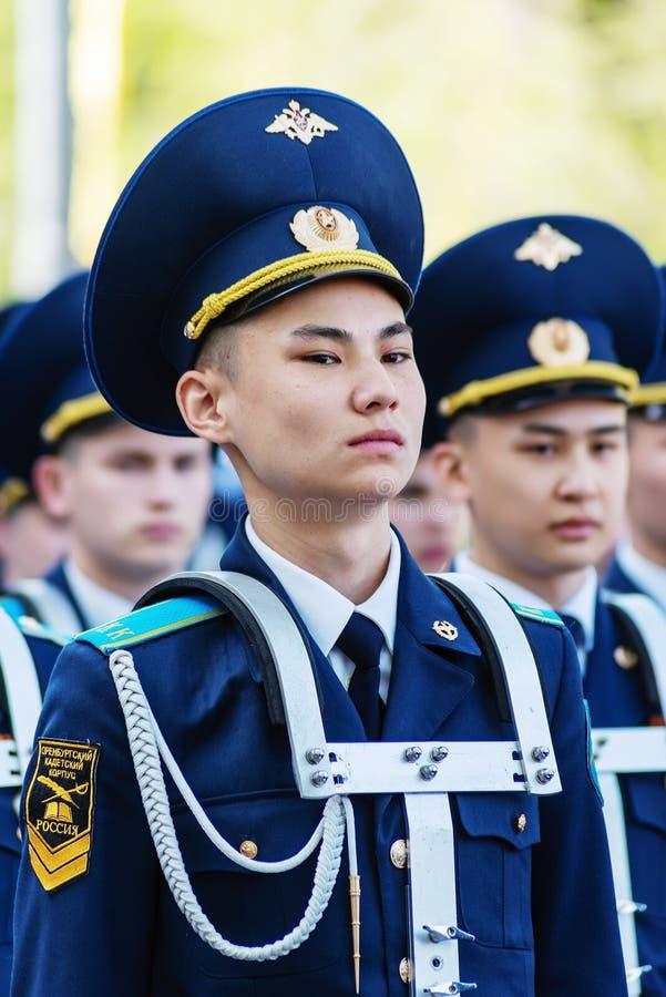 Handelsresanden Cadet Corps i ståtar royaltyfria foton