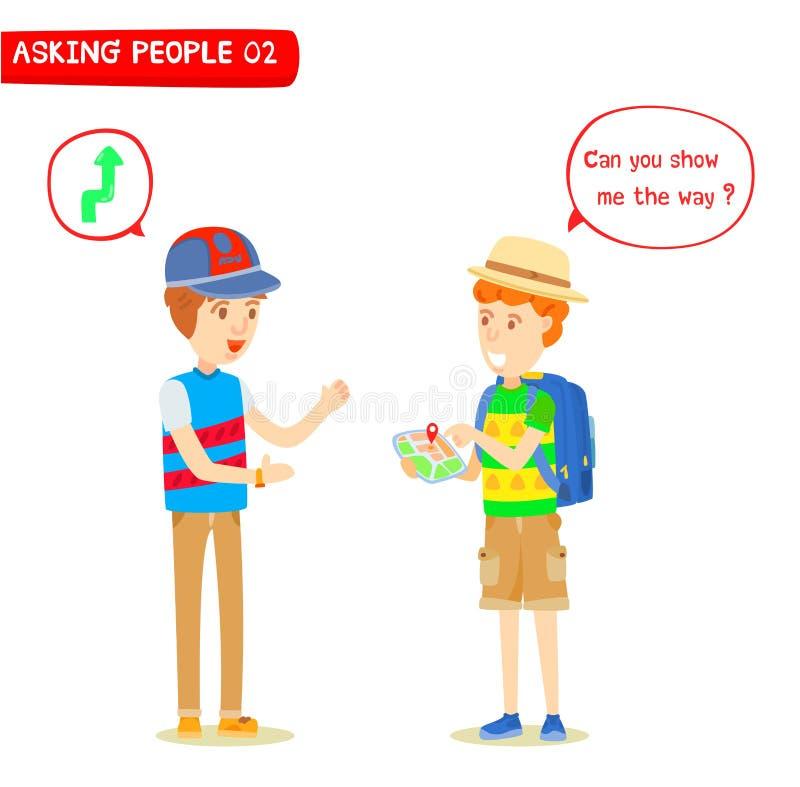Handelsresanden frågade riktningar från unga män stock illustrationer