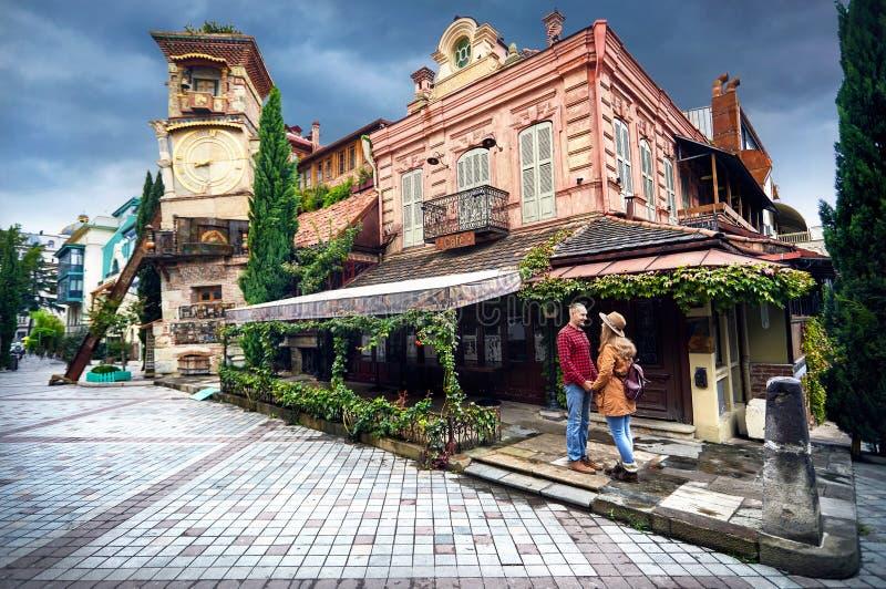 Handelsresandepar i Tbilisi royaltyfri bild