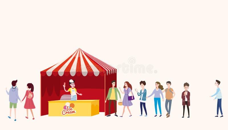 Handelstent, roomijs tegen, verkoper onder een luifel, verkopend roomijs, dranken, graan, snel voedsel, snoepjes Mensen stock illustratie