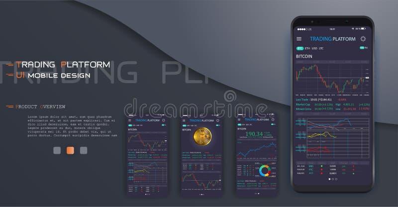 Handelsuitwisseling app op het telefoonscherm royalty-vrije illustratie