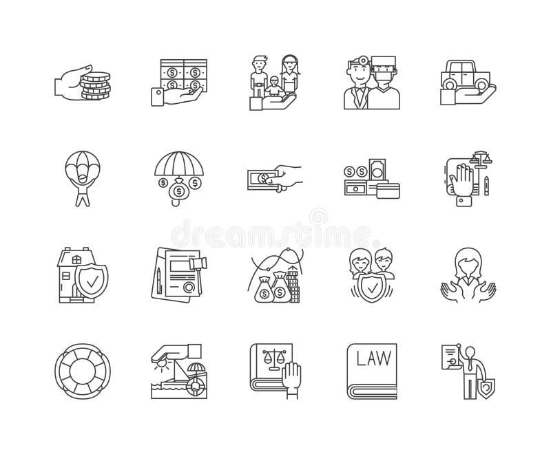 Handelsversicherungslinie Ikonen, Zeichen, Vektorsatz, Entwurfsillustrationskonzept lizenzfreie abbildung