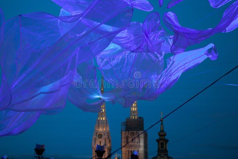 "16. Handelszentrum 2018 € Zagrebs, Kroatien ""Festival des Lichtes in Zagreb stockfotografie"