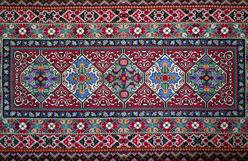Handemade Slavic carpet stock photos