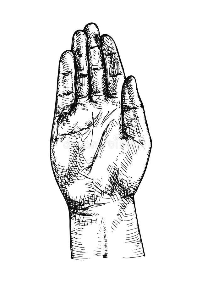 Handen är det öppet gömma i handflatan av en man uppsättning för teckning för vektorstearinljushand stock illustrationer