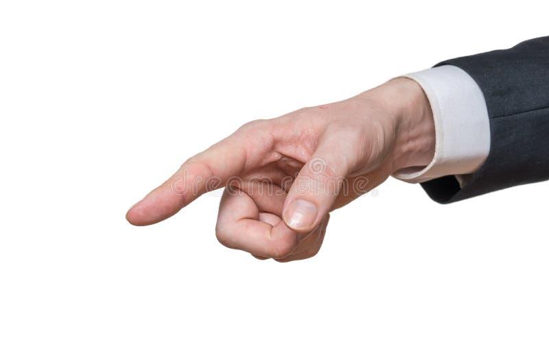 Handen av affärsmannen är lämnat att peka bakgrund isolerad white fotografering för bildbyråer