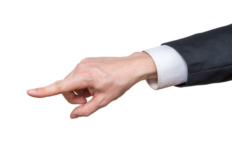 Handen av affärsmannen är lämnat att peka bakgrund isolerad white arkivbild