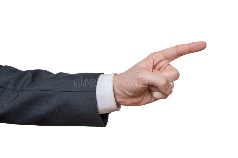 Handen av affärsmannen pekar rätt bakgrund isolerad white royaltyfria bilder