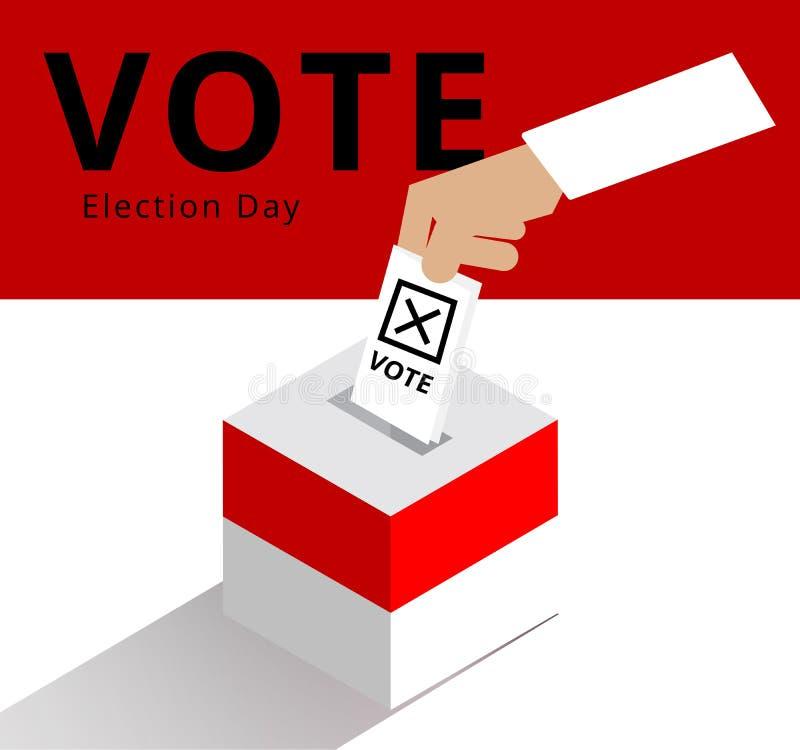 Handen av den valbara väljaren eller valkretsen som tappar slutna omröstningar i valasken med nationsflaggamodeller, den indonesi royaltyfri illustrationer