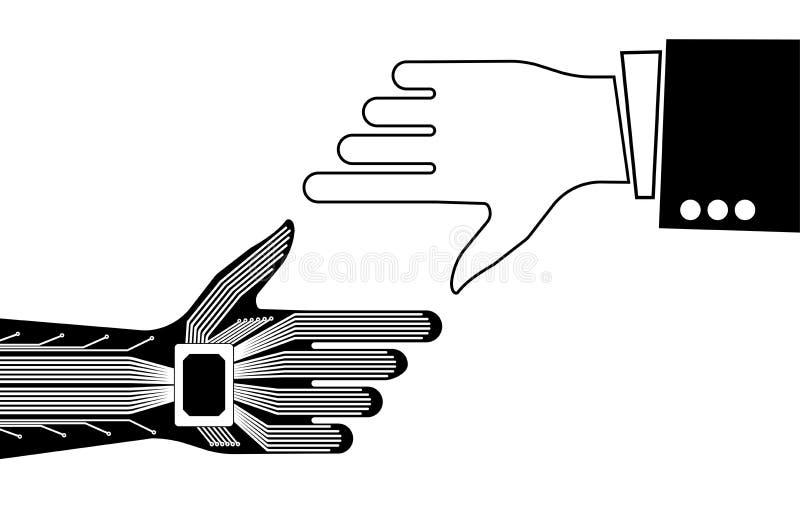 Handen av en person och en robot som pekar till något Teknologisk eller industriell bakgrund royaltyfri illustrationer
