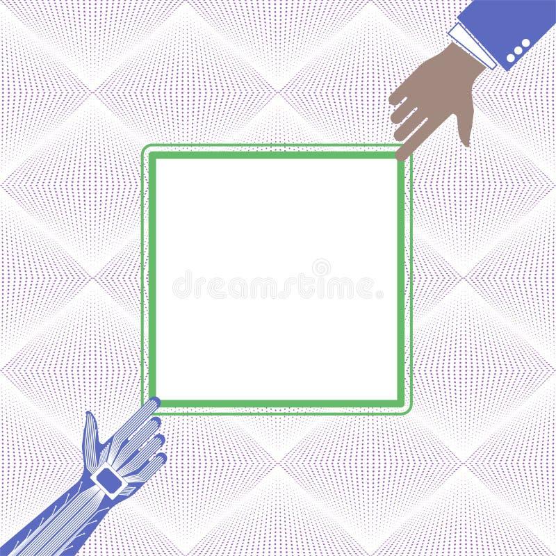 Handen av en person och en robot som pekar till något Teknologisk eller industriell bakgrund stock illustrationer