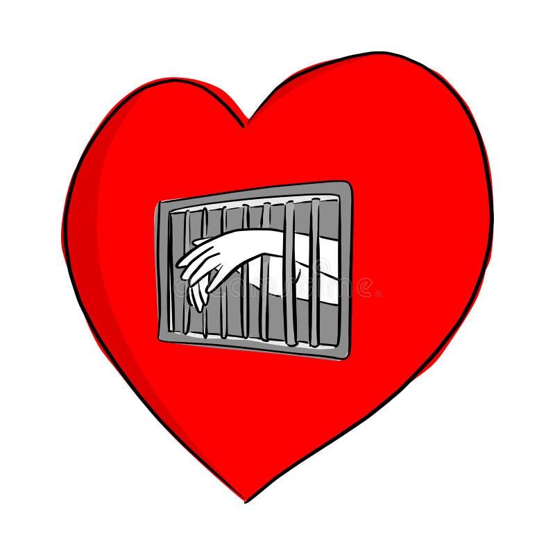 Handen av personen i arresten av den röda illustrationen för hjärtaformvektorn skissar klotterhanden som dras med svarta linjer s vektor illustrationer