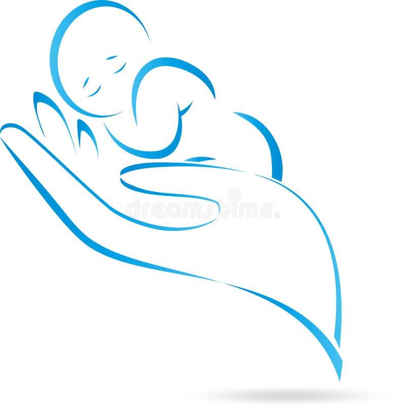 Handen barn, behandla som ett barn, logoen royaltyfri illustrationer