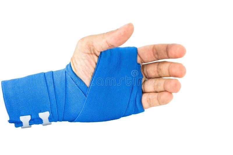 Handen bunden blå resår förbinder royaltyfria foton