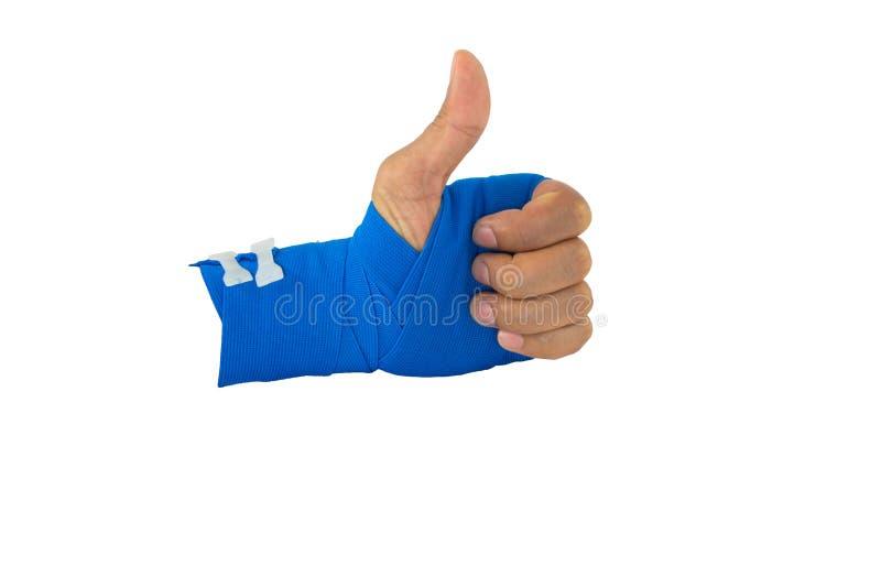 Handen bunden blå resår förbinder royaltyfria bilder