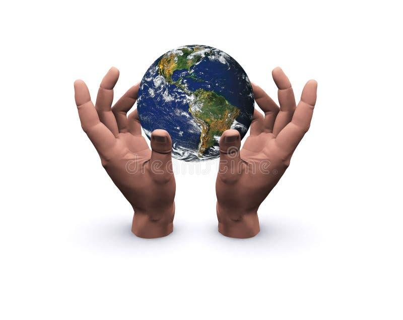 Handen die aarde houden royalty-vrije stock foto