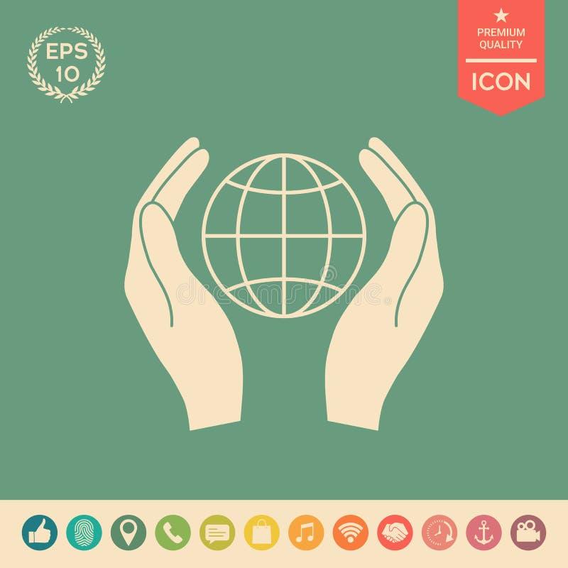Handen die aarde houden Bescherm pictogram vector illustratie
