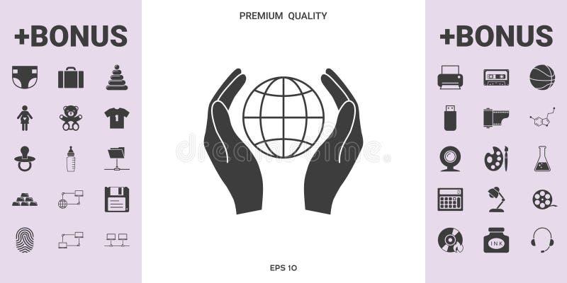 Handen die aarde houden Bescherm pictogram - grafische elementen voor uw ontwerp royalty-vrije illustratie