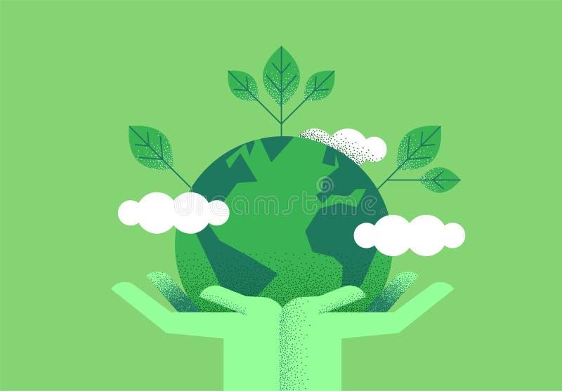 Handen die aarde voor milieuzorg houden royalty-vrije illustratie