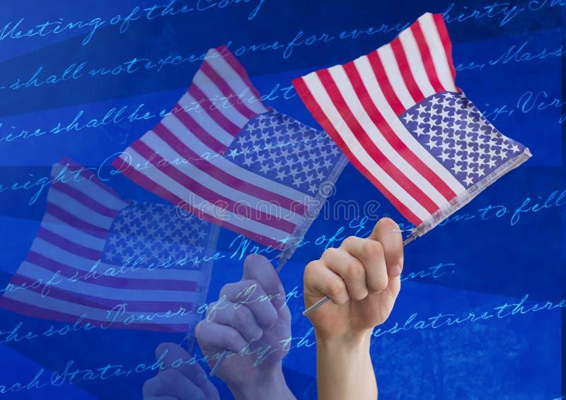 Handen die Amerikaanse vlaggen houden stock afbeeldingen