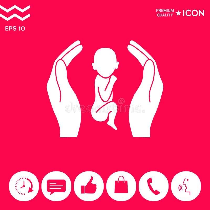 Handen die baby, beschermingssymbool houden royalty-vrije illustratie