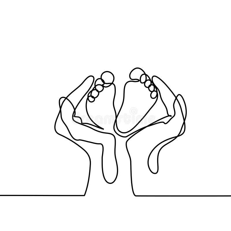 Handen die babyvoet houden - beschermingssymbool stock illustratie