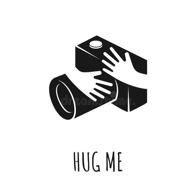 Handen die camera koesteren Het concept van de liefdefoto, vectorillustratie stock illustratie
