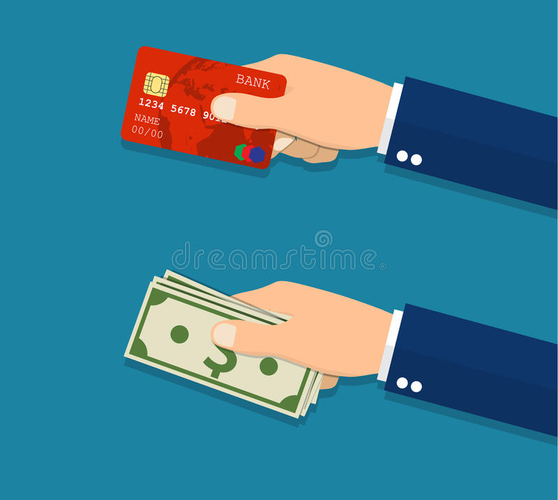 Handen die creditcard en geldrekeningen houden royalty-vrije illustratie