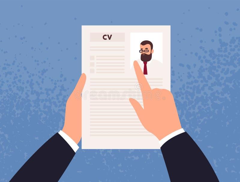 Handen die cv of Curriculum vitae van kandidaat of kandidaat houden Concept sollicitatie, keus van arbeider, personeel vector illustratie