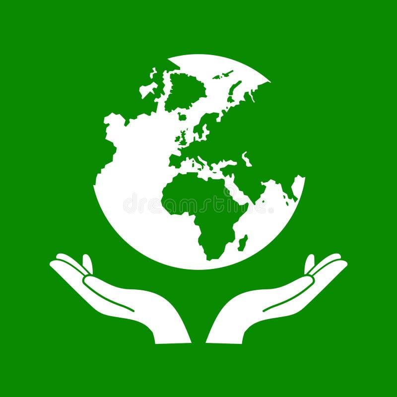 Handen die de Groene Vector van de Aardebol houden vector illustratie