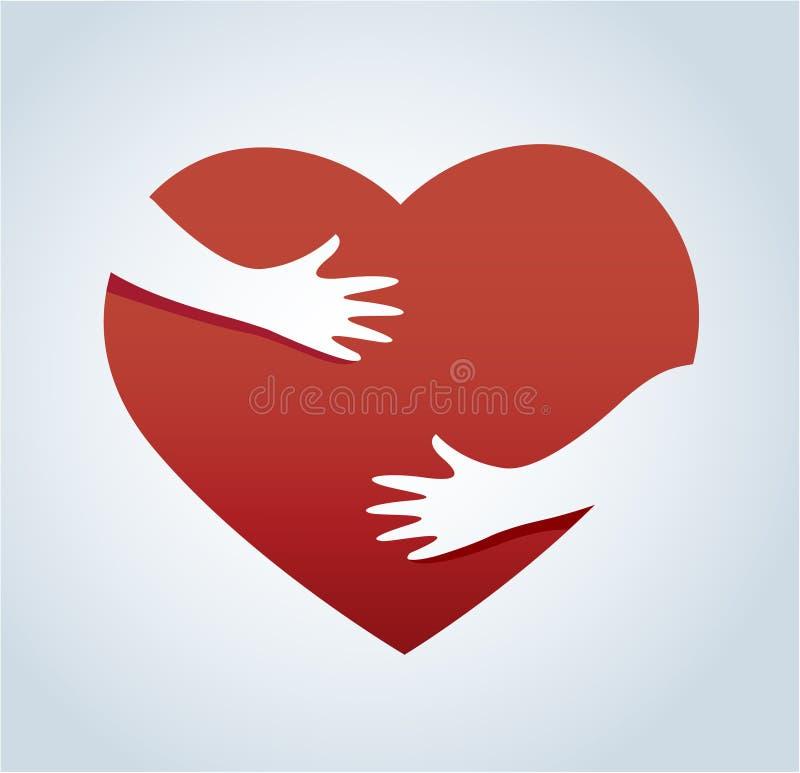 Handen die de hartvector, concept liefde en zorg koesteren stock illustratie