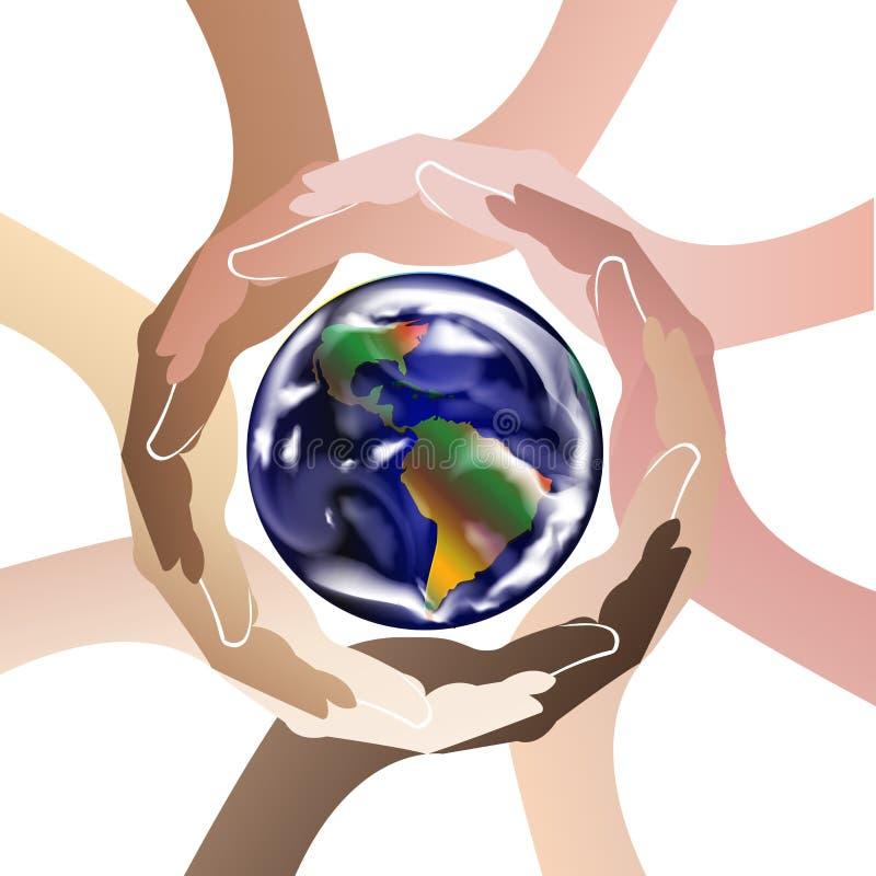 Handen die de vector van het het pictogrambeeld van het wereldembleem beschermen stock illustratie