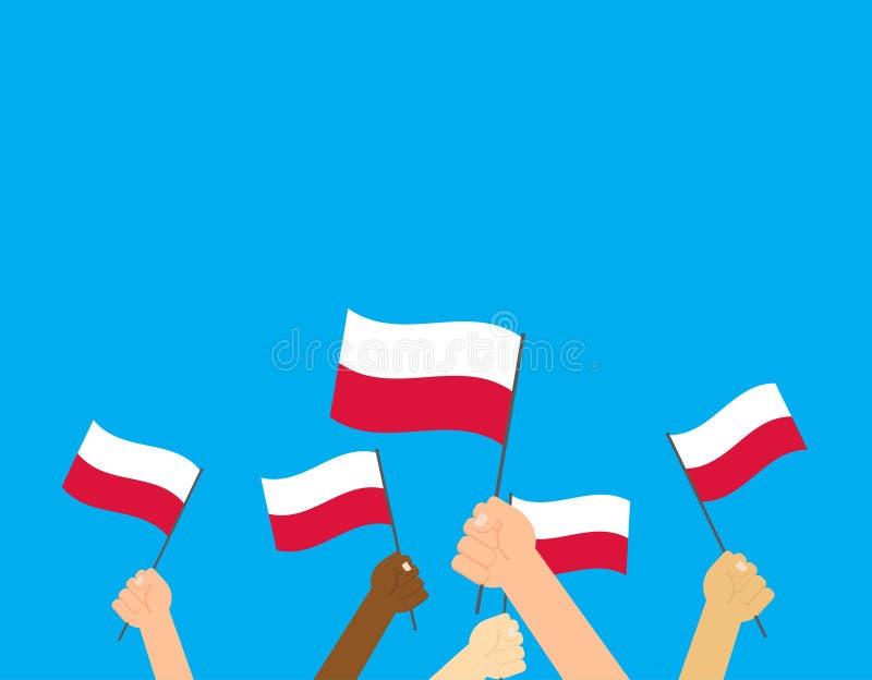 handen die de vlaggen van Polen houden stock illustratie