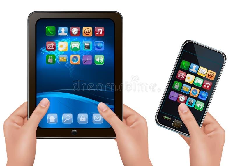 Handen die digitale tabletcomputer met pictogrammen houden. royalty-vrije illustratie