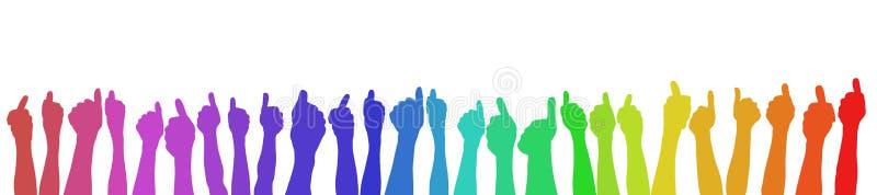 Handen die duimen in regenboogkleuren tegenhouden vector illustratie