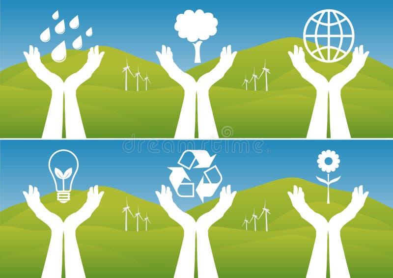 Handen die Ecologische Symbolen steunen royalty-vrije illustratie