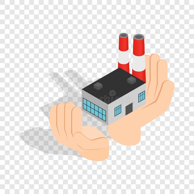 Handen die een chemisch installatie isometrisch pictogram houden vector illustratie