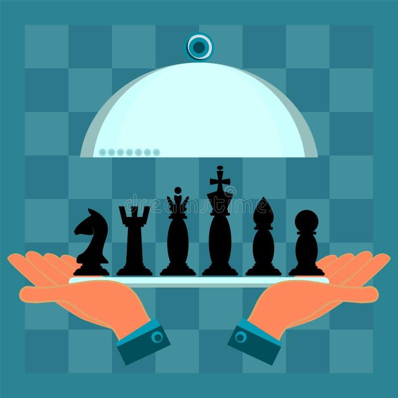 Handen die een dienende plaat met een reeks schaakstukken houden royalty-vrije illustratie