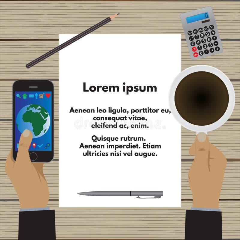 Handen die een kop van koffie en een smartphone houden Bedrijfs concept vector illustratie